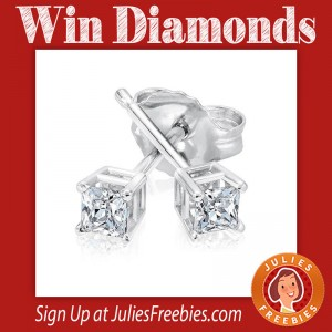 Win Princess Cut Diamond Earrings