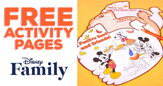 Free Mickey & Friends Thanksgiving Day Activity Pages