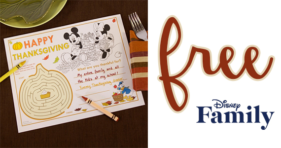 Free Mickey & Friends Thanksgiving Placemat