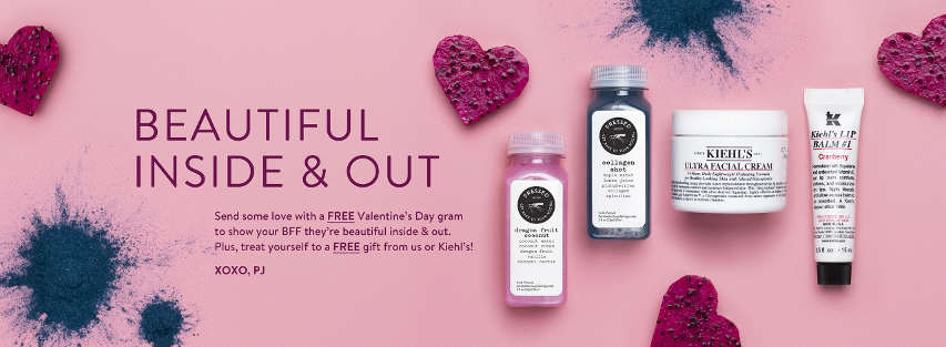 Free Valentine's Day Juicery or Kiehl's Product at Pressed Juicery Store