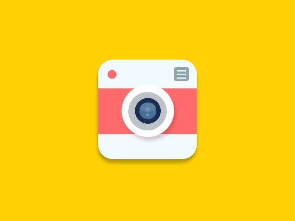 Flat Camera Icon PSD
