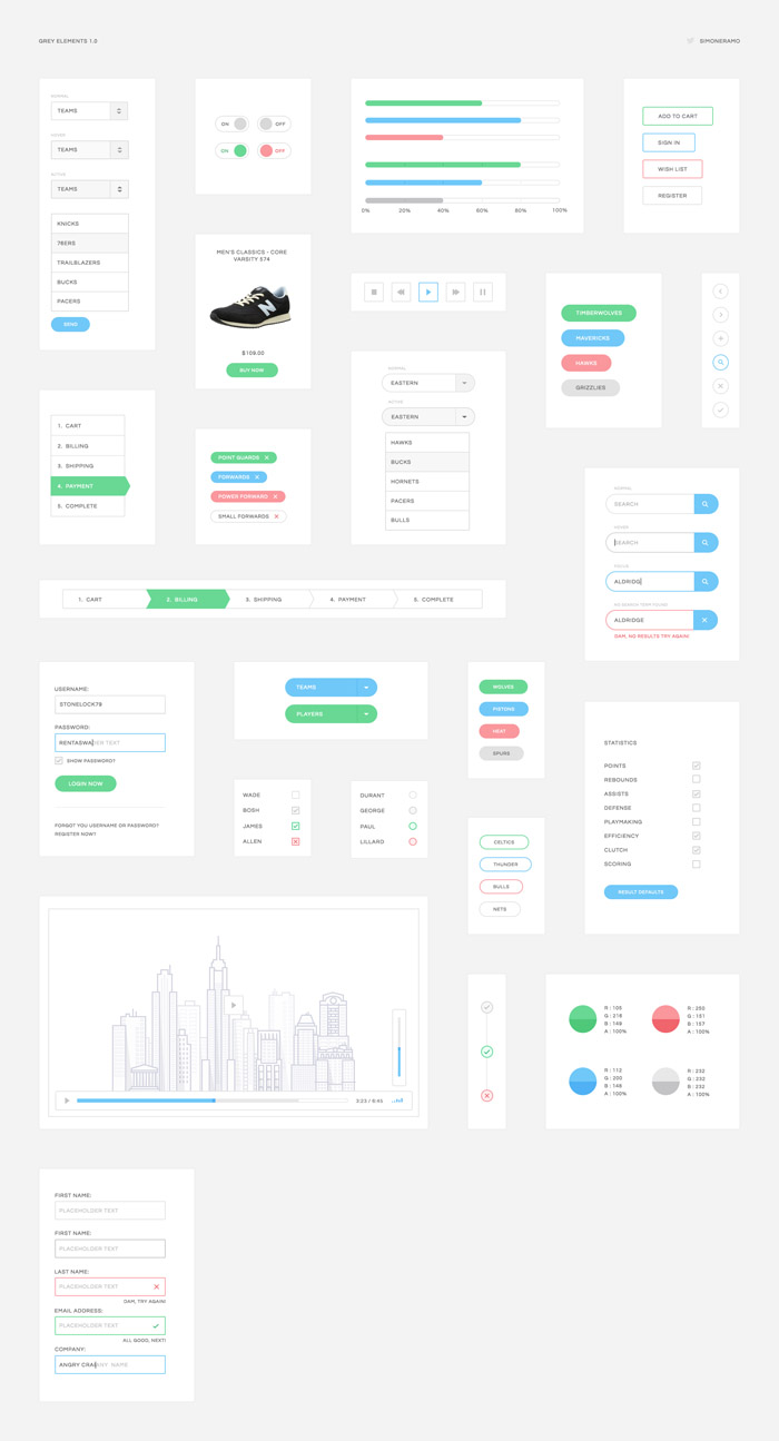Grey UI Elements Kit