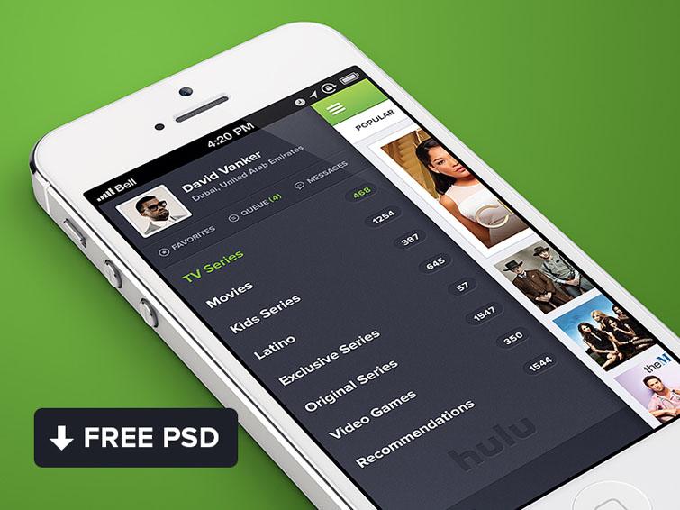 Hulu iPhone App PSD