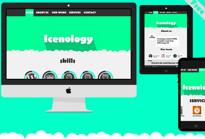 Icenology : Free Flat PSD Website Template