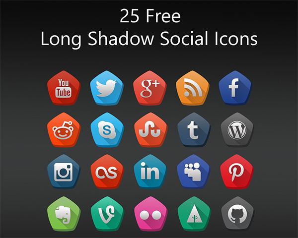 25 Free Long Shadow Social Icons