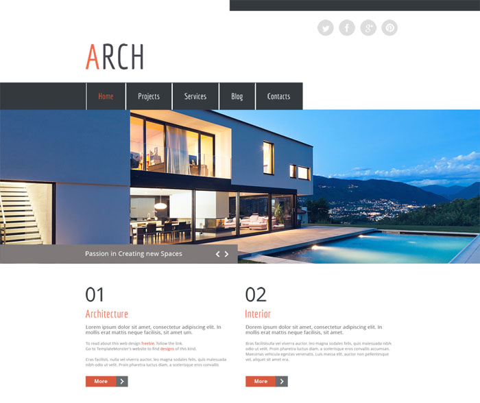 Free Responsive HTML Template for Architecture Website