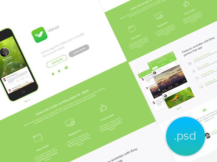 Free App Landing Page PSD Template