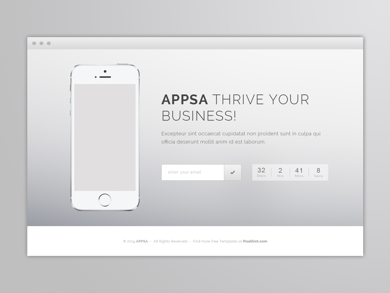 Appsa – Coming Soon PSD & HTML5 Website Template