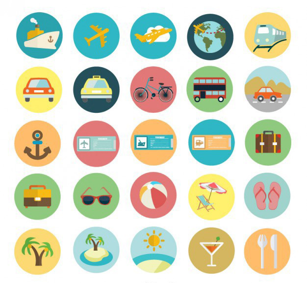 Free Flat Summer Icon Set
