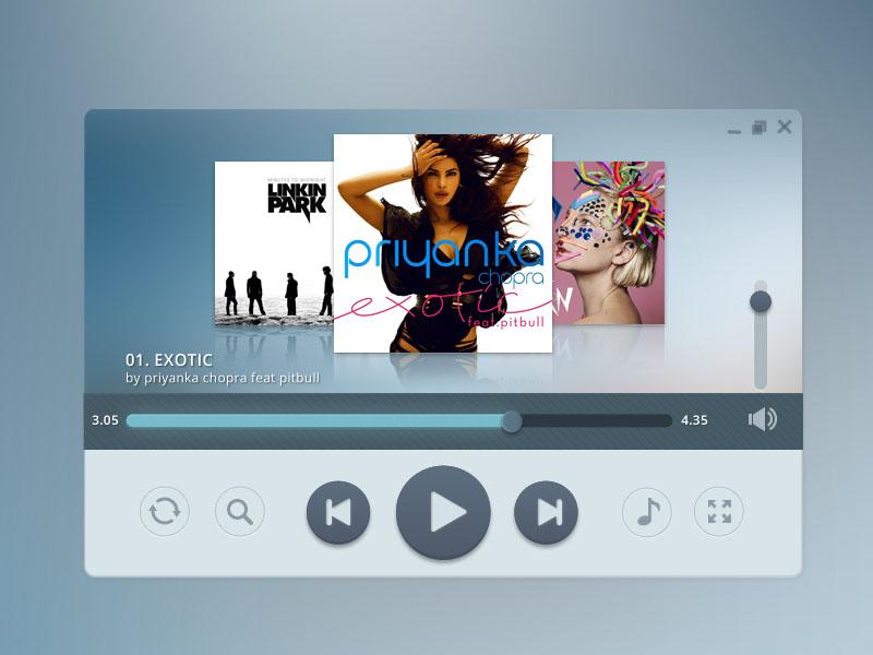 Free Modern Music Player PSD Template