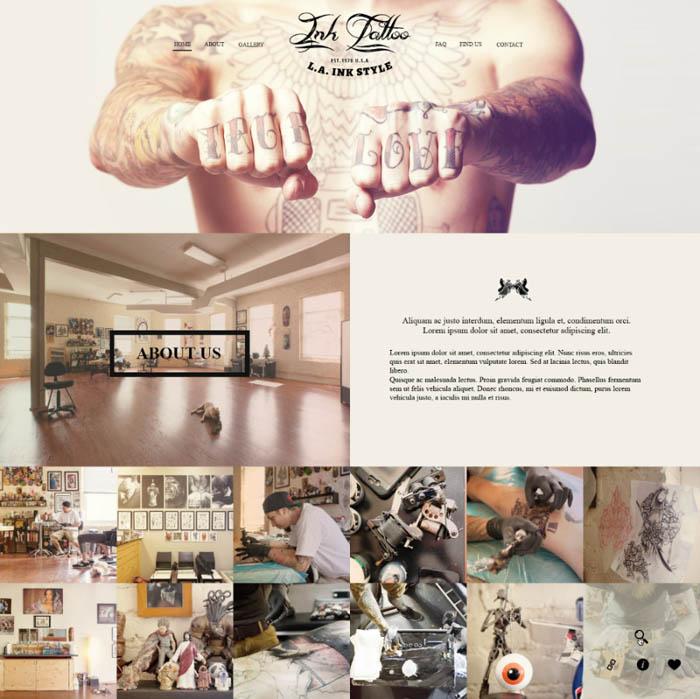 InkTattoo : Parallax PSD Template for Tattoo Studio Website