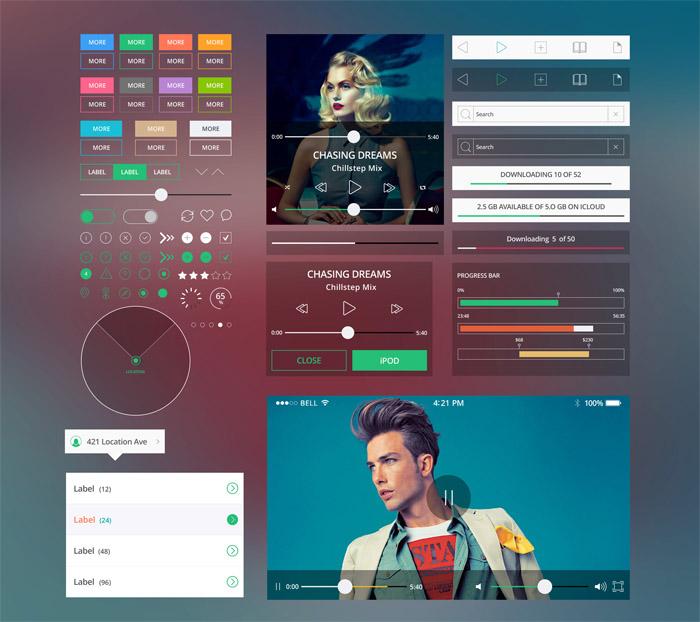 Shapes Mobile UI Kit PSD