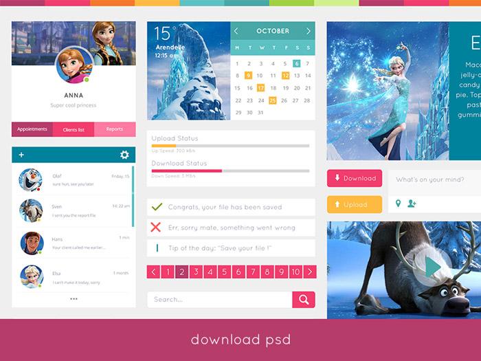 Free Simple Flat UI Kit