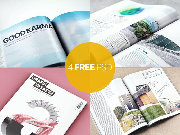 4 Free Magazine Mockup PSD