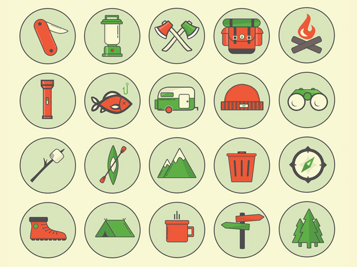 Free Camping Outdoor PSD Icons