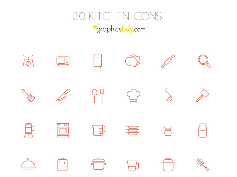 30 Free Outline Kitchen Icons