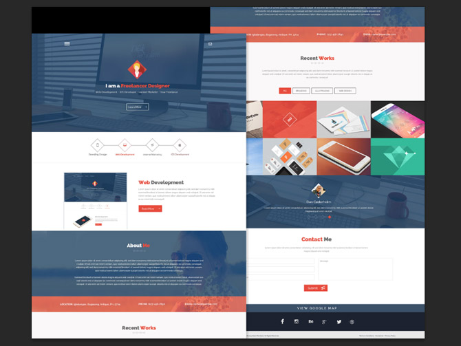 Free Flat One Page PSD Website Template