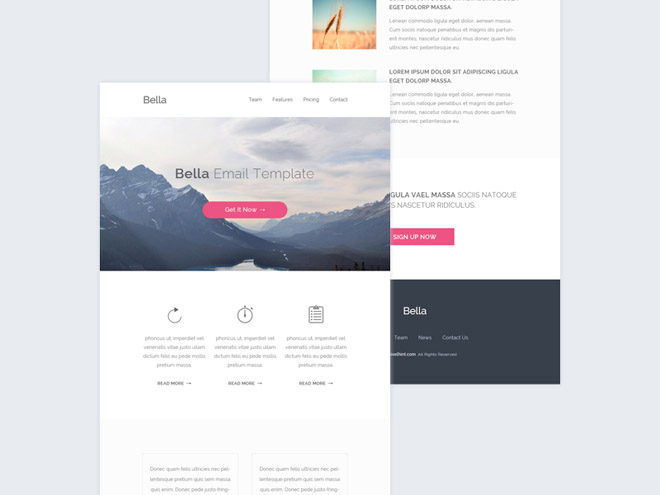 Bella – Free Modern PSD And HTML Email Template