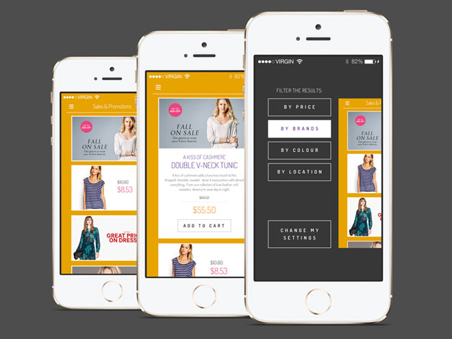 Free Flat iPhone Shopping App PSD
