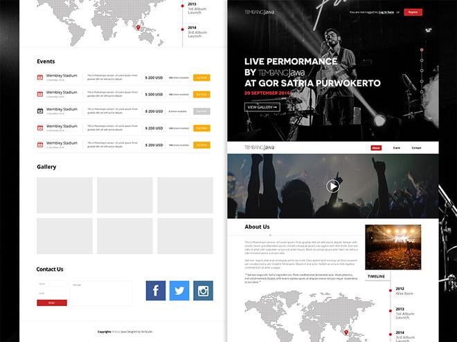 Tembang Jawa : Free Music Website PSD Template