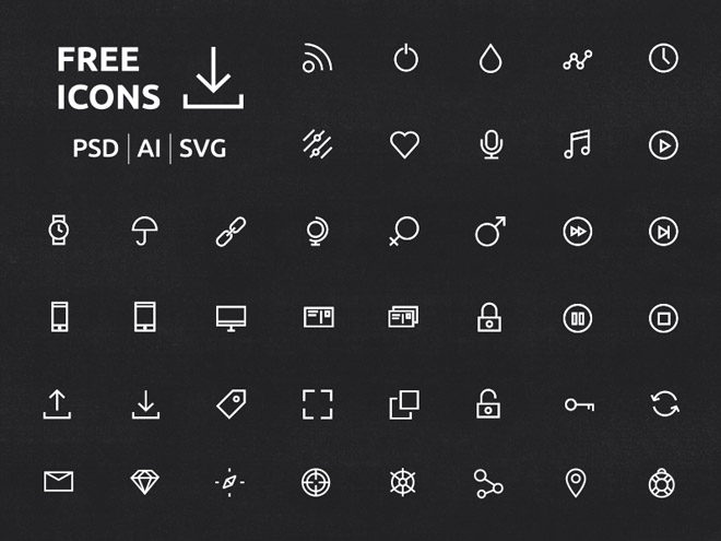 40 Free Crispy Icons in PSD, AI and SVG