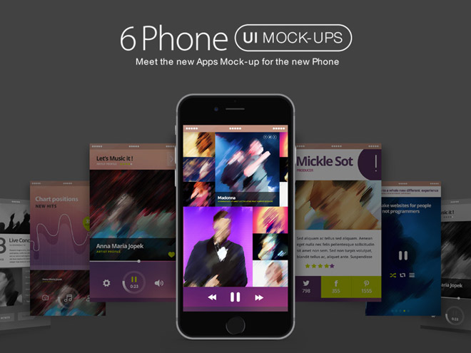 6 Free Apps Screen UI PSD Mockups