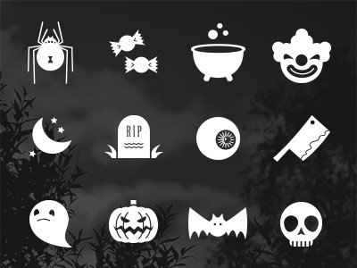 Free Flat Halloween Icons PSD