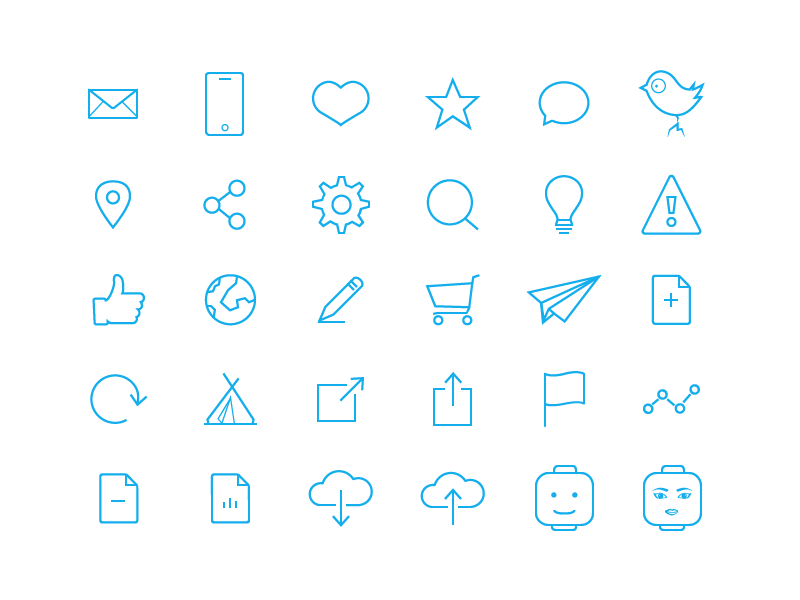 74 Free Flat Line Icons
