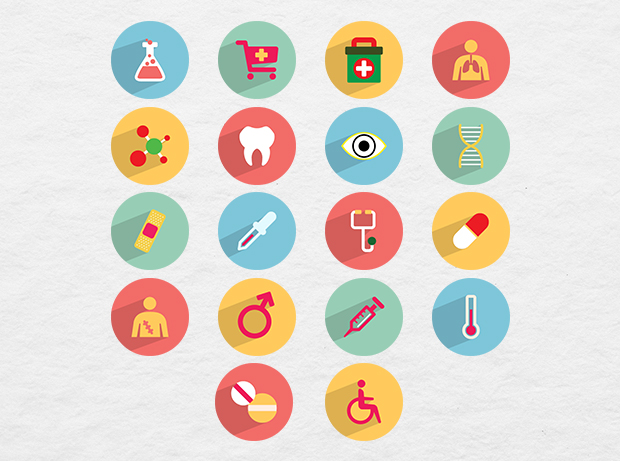 36 Free Medical Icons with Long Shadow Style