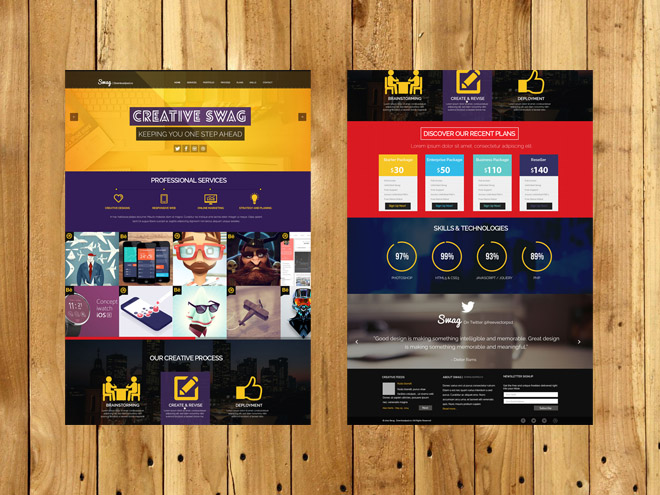 Swag : Free One Page PSD Template