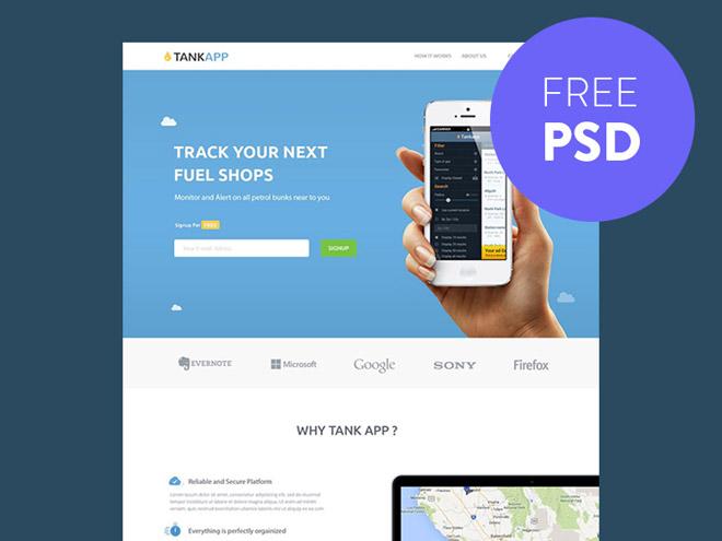 TankApp : Free PSD Landing Page Template