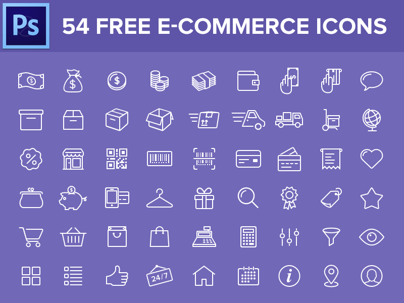 54 Free Ecommerce PSD Icons