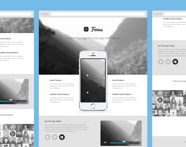 Focus : Landing Page PSD Template for Mobile App