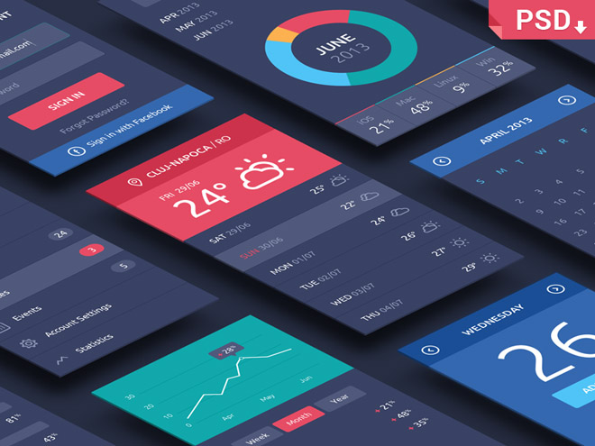 Free Isometric Perspective Mobile Apps Screens MockUp