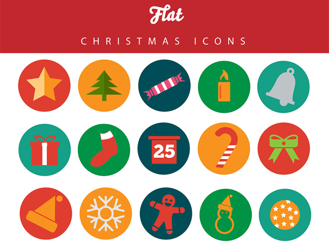 Free Flat Christmas Icon Pack