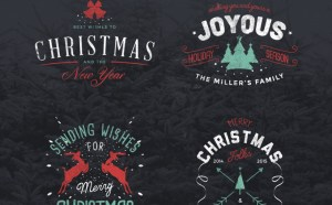 4 Free Retro Christmas Badges