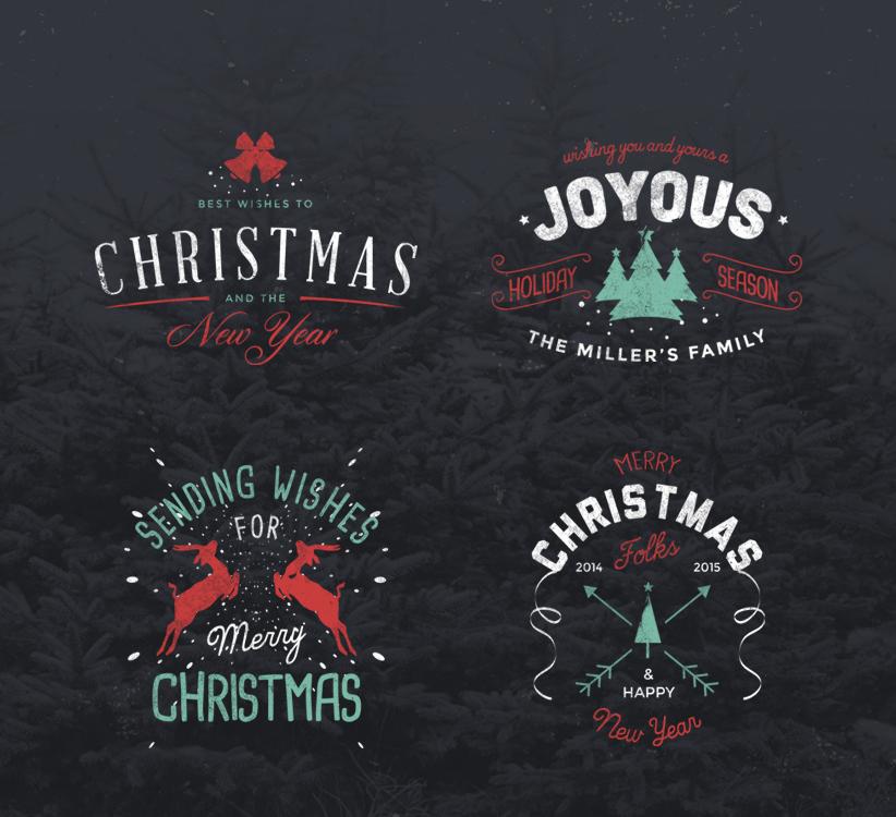 4 Free Retro Christmas Badges