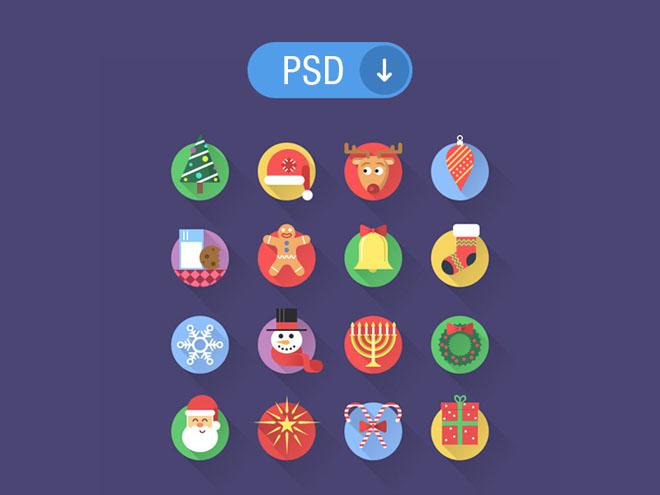 16 Free Flat Christmas Icons PSD