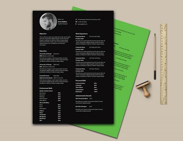 Clean Minimal Resume PSD