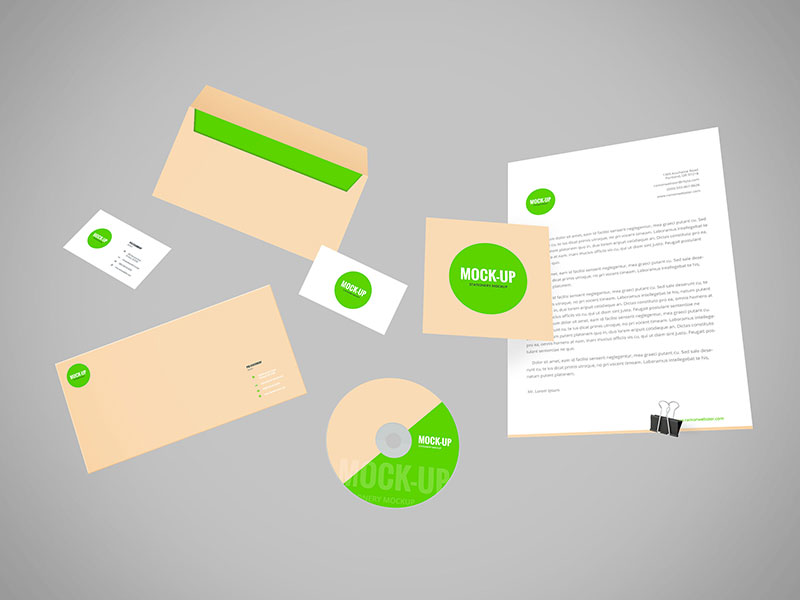 Flying Branding Stationery PSD Mockup