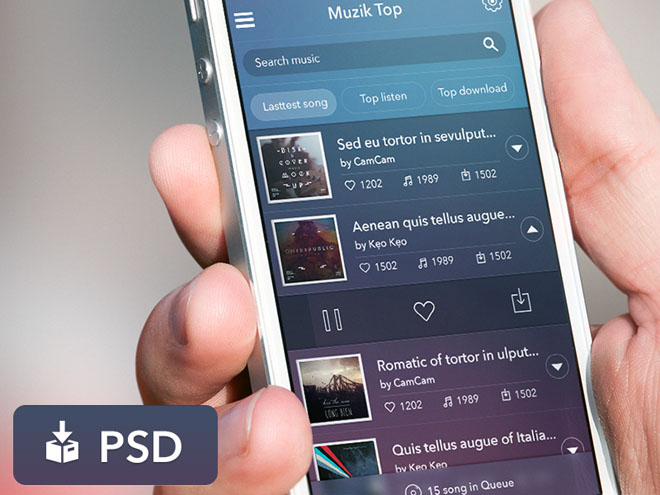 Music App User Interface PSD