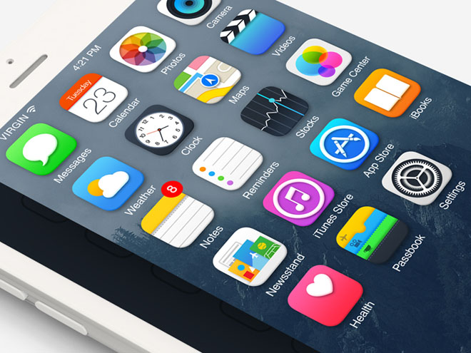 iOS 8 PSD Icons