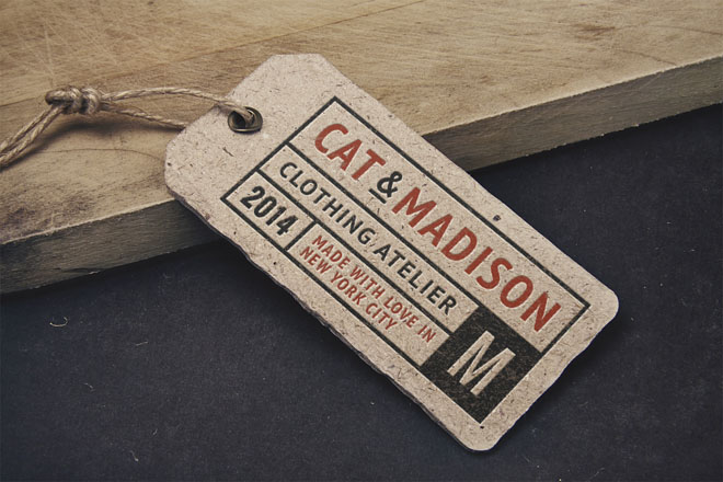 Free Retro Product Label Tag MockUp PSD