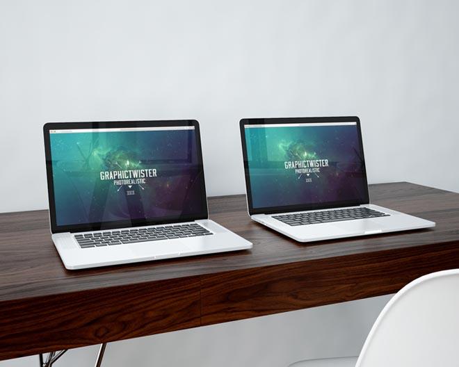 Photorealistic Double Macbook Pro PSD Mockup