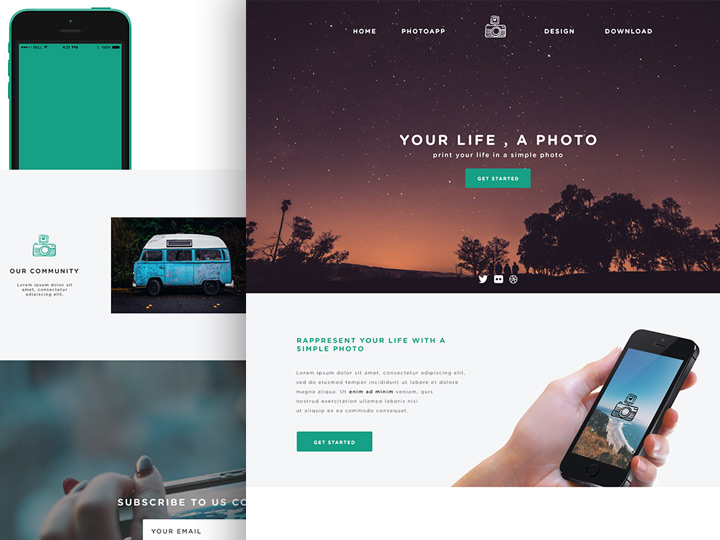 Phototime – Mobile Apps Landing Page Template PSD