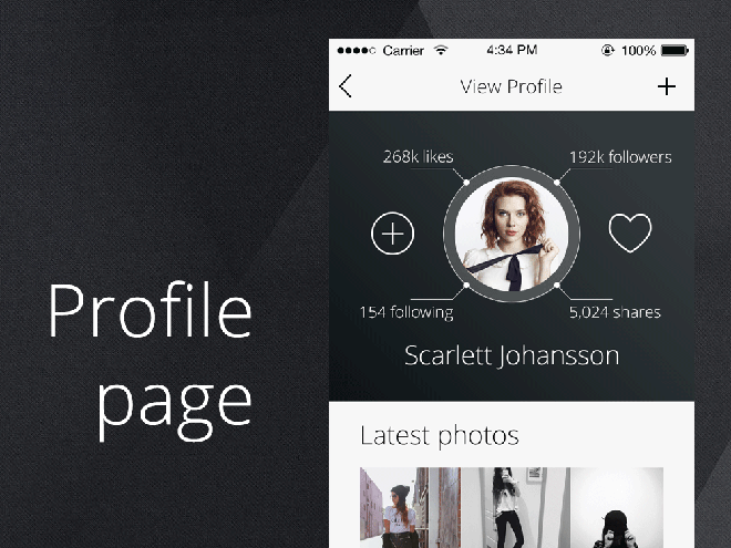 Profile and Login Screen PSD for iPhone App