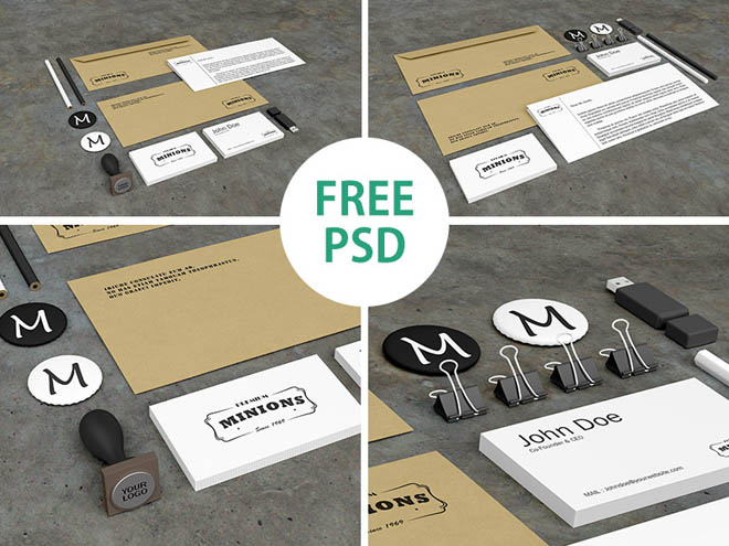Photorealistic Branding Stationery PSD Mockups
