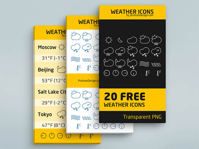 Free Minimal Weather Icons Set