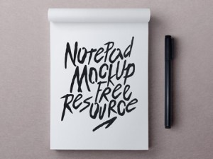 Free Photorealistic Notepad Mockup PSD