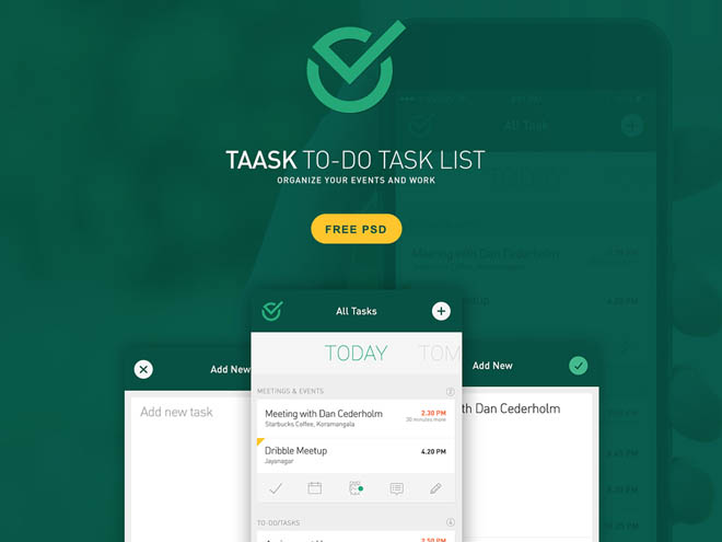 To-Do Task Mobile App PSD